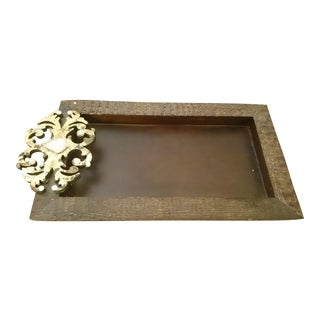 Gold Tone Accent Wood Tray Table