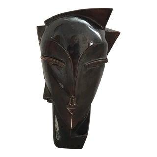 Art Deco Ceramic Woman Head Figure