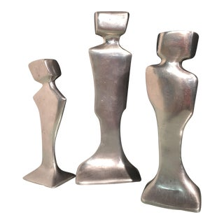 Abstract Cast Aluminum Candlesticks - Set of 3