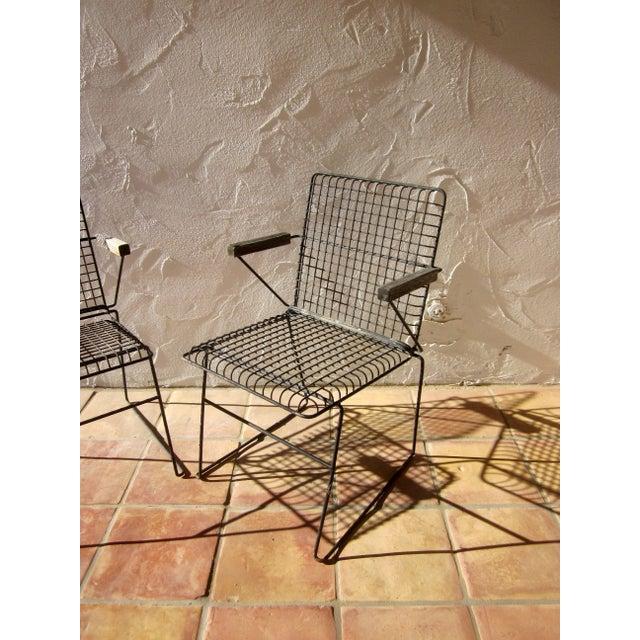 John Keal Style Modern Patio Iron Armchairs - Image 4 of 5