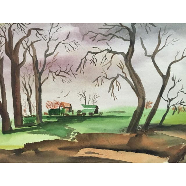 1950's Double Sided Gouache Landscape Painting - Image 1 of 6