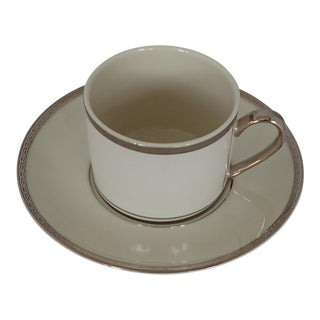Elegant Fine China Ivory & Platinum Tea Cup