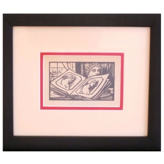 Framed Art Deco Woodblock Print of Book