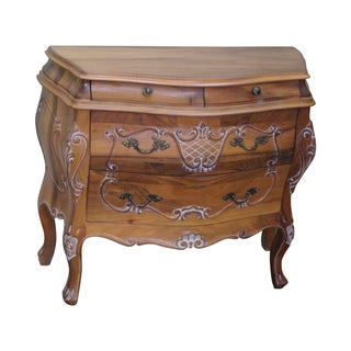 Italian Light Walnut Bombe Commode Accent Chest
