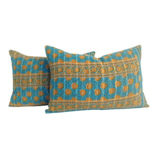 Vintage Indian Kantha Quilt Teal Pillows - A Pair