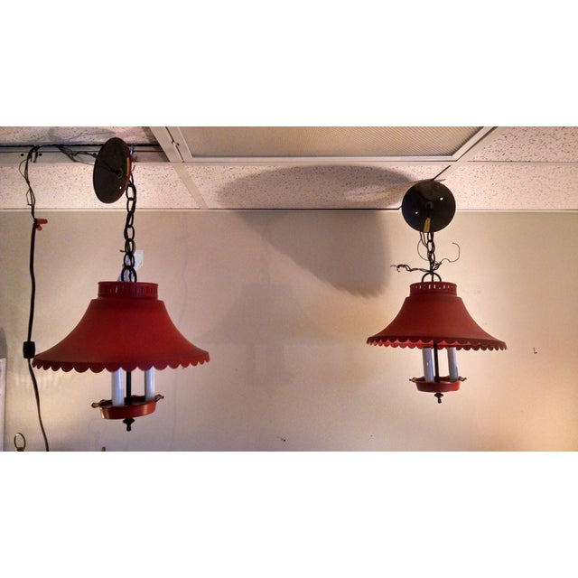 Image of Vintage Tole Pendent Lights - Pair