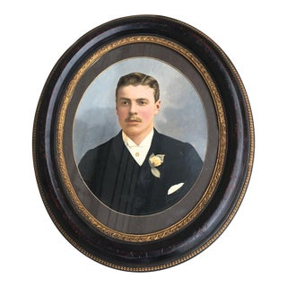 Vintage Oval Framed Painting of Mustached Man