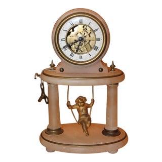 19th Century Antique French Gilt Bronze Cherub Swinging Clock