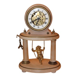 19th Century Antique French Gilt Bronze Cherub Swinging Clock