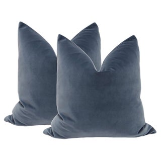 "22"" Prussian Blue Velvet Pillows - A Pair"