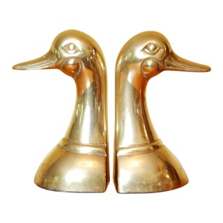 Vintage Solid Brass Duck Bookends - A Pair