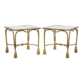 Vintage Italian Hollywood Regency Side Tables - A Pair