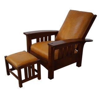 Stickley Mission Oak Leather Morris Chair/Ottoman