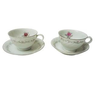 Vintage Floral Tea Cup & Saucers - a Pair