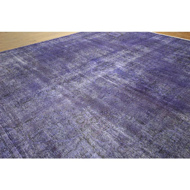 "Purple Overdyed Oriental Rug - 10' 1"" x 12' 1"" - Image 4 of 10"