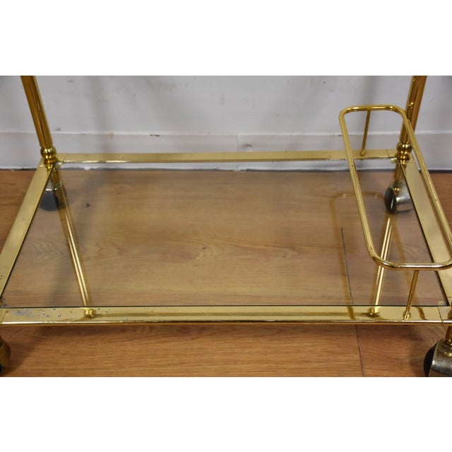 Hollywood Regency Brass Bar Cart - Image 7 of 11