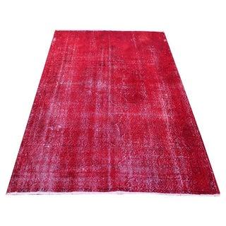 Red Overdyed Turkish Rug - 4′11″ × 7′6″