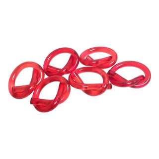 Red Lucite Knot Napkin Rings - Set of 6
