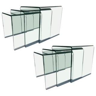 WONDERFUL PAIR OF CURVED GLASS WATERFALL NESTING TABLES BY ANGELO CORTESI