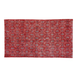 """Vintage Turkish Zeki Muren Distressed Red Sivas Area Rug - 3'10"""" X 6' 9"""""""