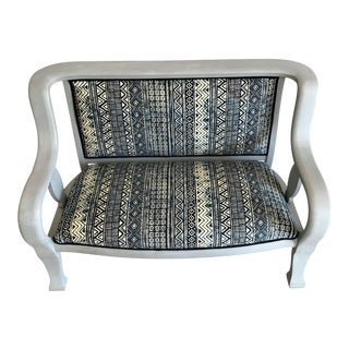 Rustic Settee Bench - African Mud Cloth Custom Upholstered