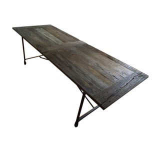 Reclaimed Wood & Cast Metal Dining Table