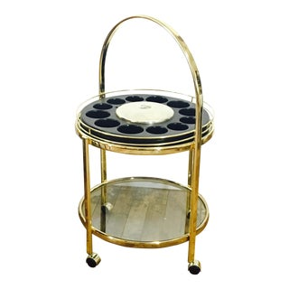 Vintage Round Brass Bar Cart