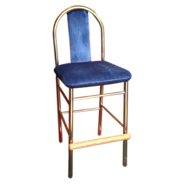 Brass Barstool With Blue Upholstered Seat - Image 1 of 6