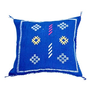 Moroccan Berber Cobalt Blue Sabra Throw Pillow