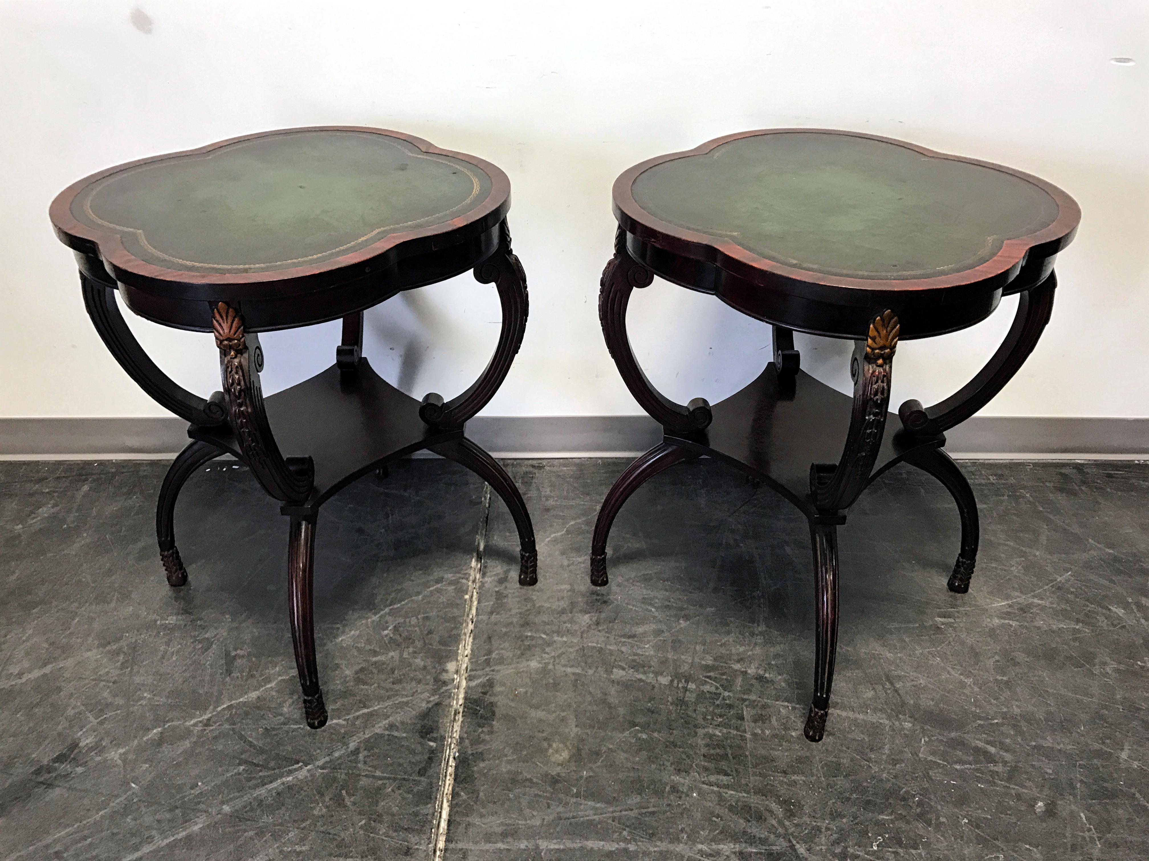 Vintage Clover Shaped Green Leather Top Mahogany End Tables  A Pair   Image  2 Of