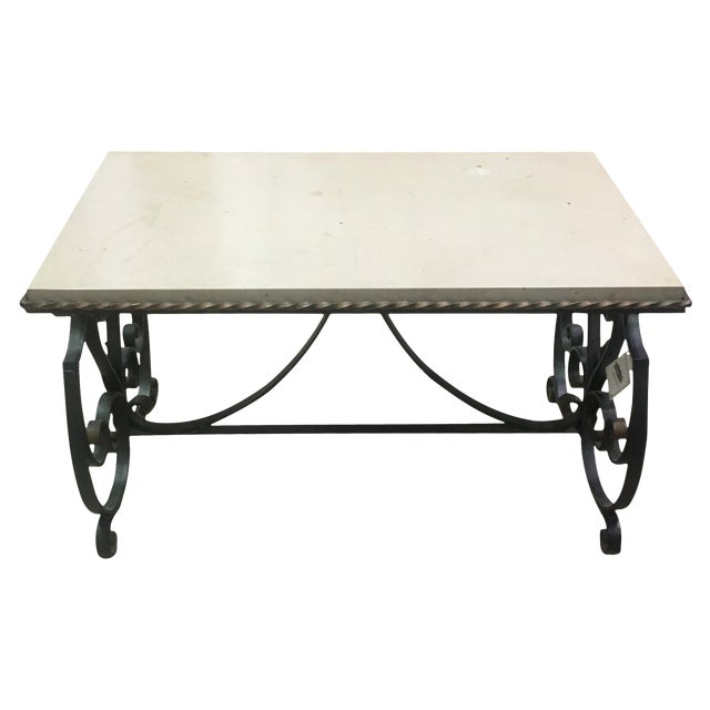 French Marble Top Coffee Table C 1930: French Marble Top Coffee Table W/ Gilded Iron Base