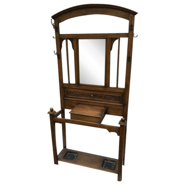 Image of Antique English Oak Hall Stand
