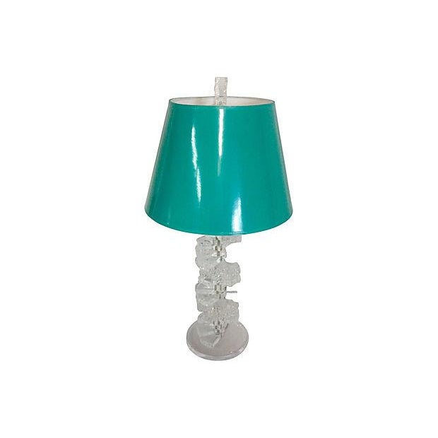 60s Carved Lucite Table Lamp & Parchment Shade - Image 6 of 6