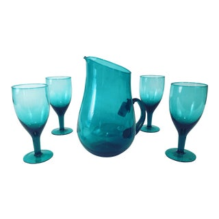 Vintage Teal Blue Wine Glasses & Pitcher - S/5