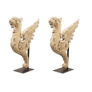 Pair of Painted Wooden Griffins
