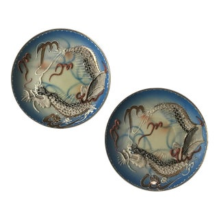 Small Asian Moriage Dragonware Plates - a Pair