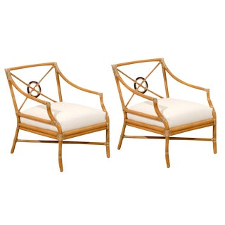 Beautiful Pair of Vintage Bamboo Target Back Lounge Chairs by McGuire