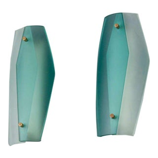 Pair of Italian Blue-Green Glass Sconces
