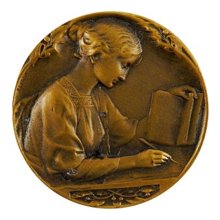Bronze French School Medal Art Nouveau