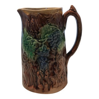 19th Century Majolica Bark Textured Jug