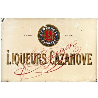 Vintage French 'Casanova Liqueurs' Metal Sign
