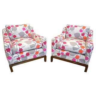 Mid-Century Colorful Leaf Print Chairs - A Pair