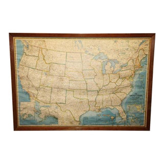 Vintage Used Maps Chairish - Framed us map