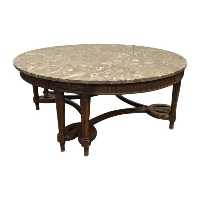 Round Gray Marble Top Coffee Table Chairish