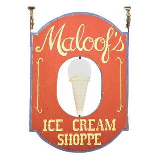 "Very Large ""Maloof's"" Ice Cream Shop Sign"