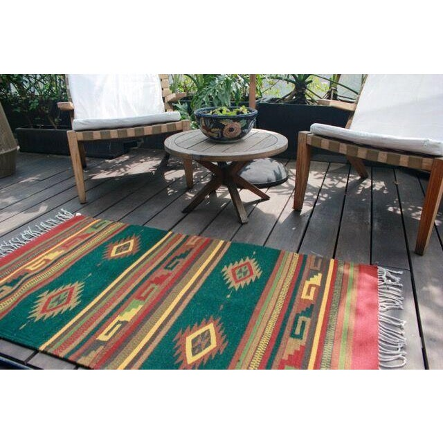 Mexican Pedal-Loom Green Rug - 2′7″ × 4′10″ - Image 6 of 6