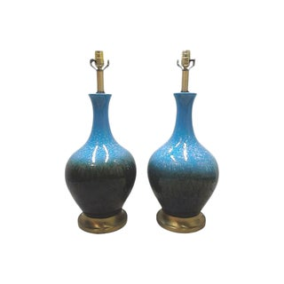 Mid-Century Blue Ceramic Table Lamps-A Pair