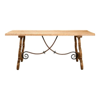 Vintage Spanish Bleached Oak Table With Iron Stretchers