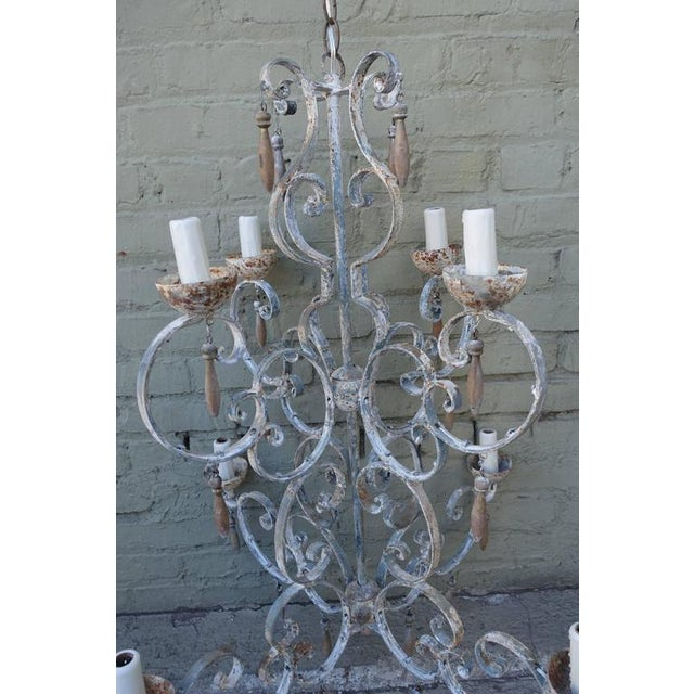 8-Light Painted Italian Chandelier with Drops - Image 4 of 7