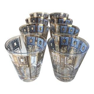 Mid-Century Culver Style Gilt & Blue Glasses - 8